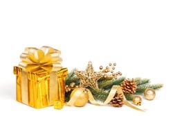 Christmas Gold Gift isolated on white. Studio shot