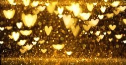 Christmas Gold glowing Background. Golden Holiday Abstract Glitter Defocused Backdrop With Blinking Stars and hearts. Gold Bokeh on black background. Festive defocused elegant border