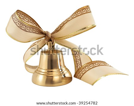 Christmas golden bell with a ribbon bow isolated on white