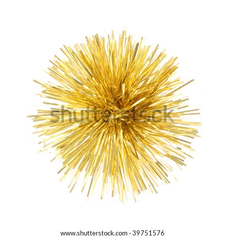 Christmas golden decoration isolated on the white background - stock photo
