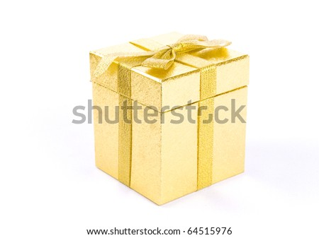 Christmas golden  gift-box on white background, with golden ribbon