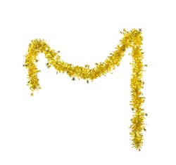 Christmas golden tinsel with stars. Isolated on a white background.