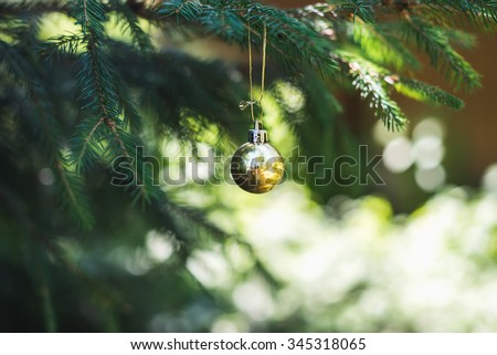 Christmas golden toy ball hanging on a branch of a fur-tree, selective focus