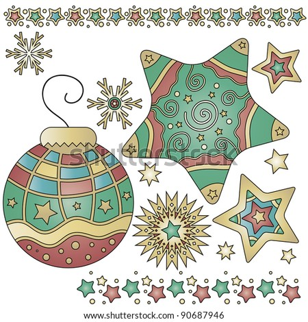 Christmas graphics with bauble, stars and trims