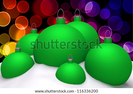 Christmas green balls in snow on color bokeh background 3d concept