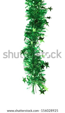 Christmas green tinsel with stars. Isolated on a white background. - stock photo
