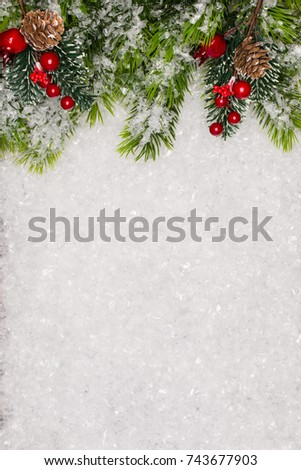 Christmas greeting card. Christmas border with copy space. Noel festive background. New year symbol. #743677903
