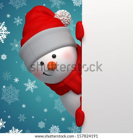 Christmas greeting card, 3d snowman looking at camera and holding blank page