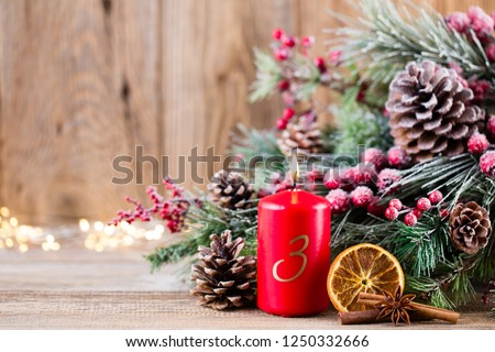 Christmas greeting card. Festive decoration on wooden background. New Year concept. Copy space.  Flat lay. Top view. #1250332666