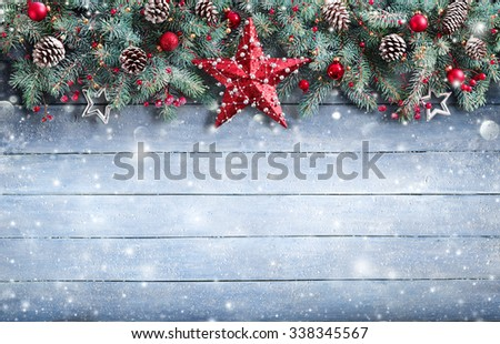 Christmas Greeting Card - Fir Branch And Decoration On Snowy Plank  - Shutterstock ID 338345567
