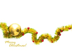 Christmas greeting card made of yellow and green tinsel frame with red and golden christmas balls