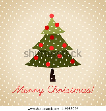 Christmas Greeting Card. Merry Christmas lettering. Colorful illustration.