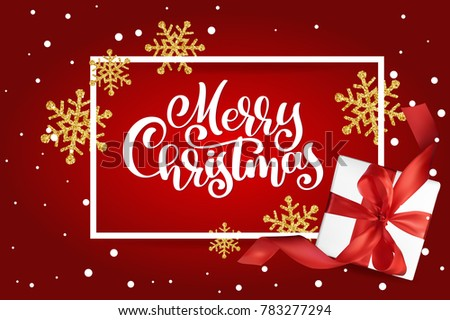 Christmas Greeting Card. Merry Christmas lettering, red background  illustration, with a Mesh gift box and golden snowflakes #783277294