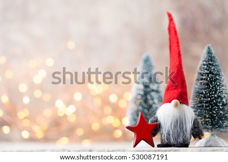 Christmas greeting card. Noel gnome background. Christmas symbol.  #530087191