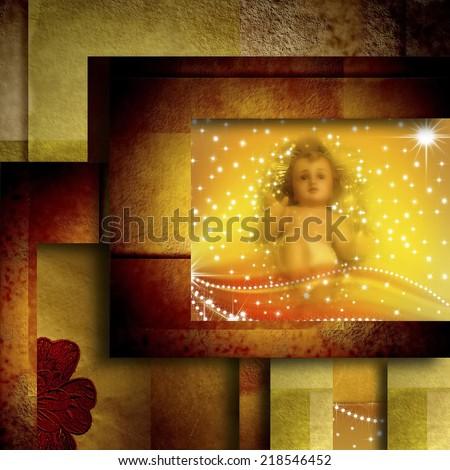 Christmas greeting card old figure of baby jesus , in elegant background