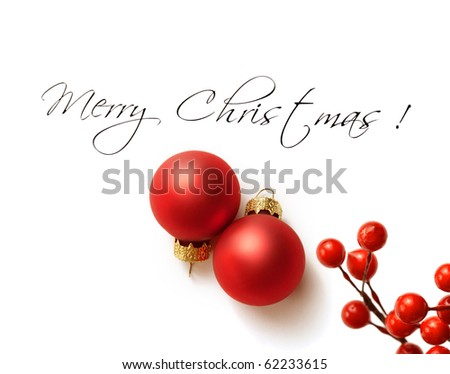 christmas greeting card with christmas ornaments