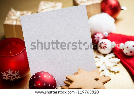 Christmas Greeting card with cookies, Christmas balls and decorations