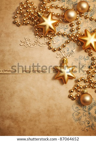 christmas greeting card with decorative christmas ornament