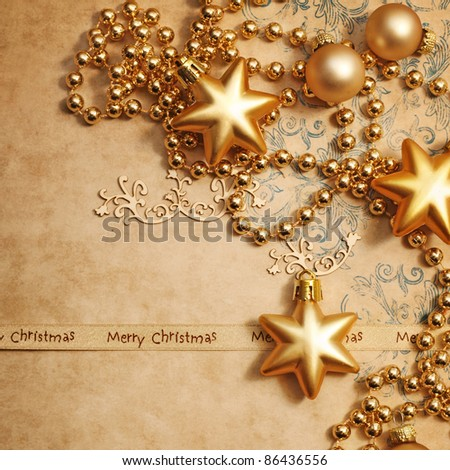 christmas greeting card with decorative christmas ornaments