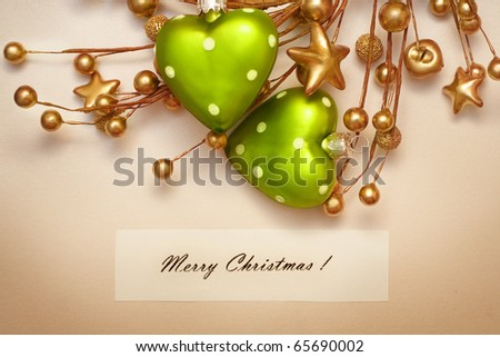 Christmas greeting card with decorative ornaments