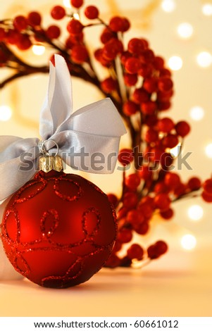 christmas greeting card with decorative red ornaments