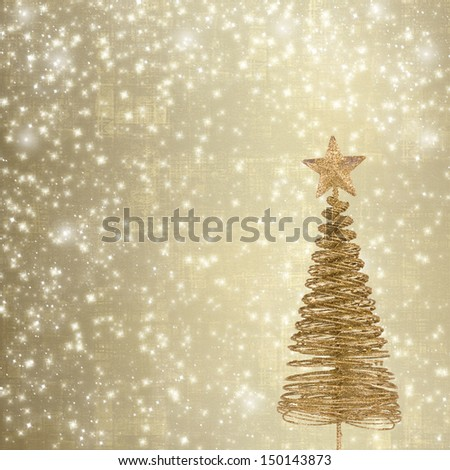 Christmas greeting card with gold metal firtree on the abstract background with snowflakes