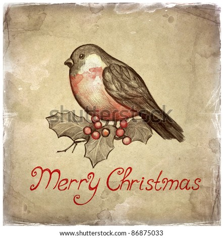 Christmas greeting card with illustration of bullfinch