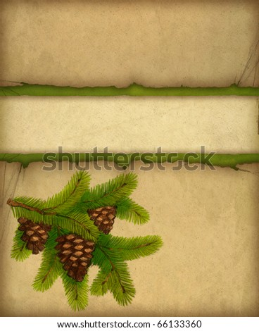 Christmas greeting card with illustration of cone on branch
