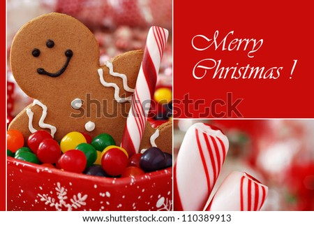 Christmas greeting card with macro images of smiling gingerbread man with candy and peppermint sticks with shallow dof on red background.  (text on solid color and easy to remove or replace)
