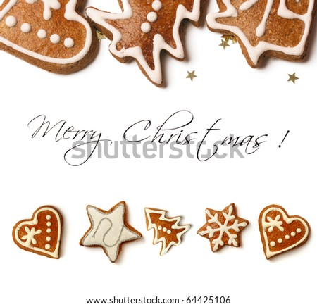 christmas greeting card with sweet christmas gingerbreads