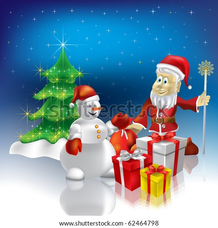 christmas greeting Santa Claus and snowman with gifts