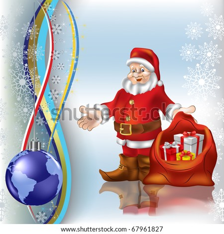 christmas greeting Santa Claus with gifts and globe - stock photo