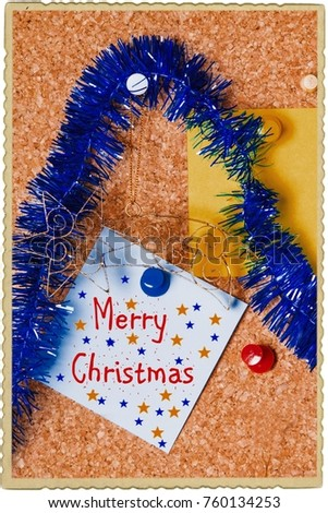christmas greeting with christmas decorations #760134253