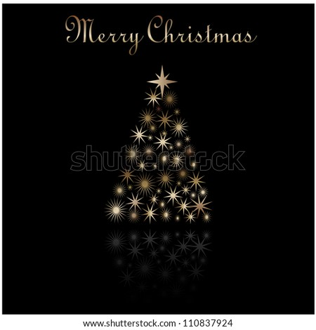 Christmas Greeting with Christmas Tree - stock photo