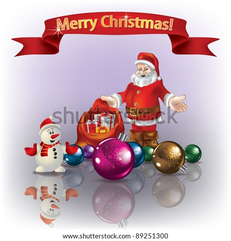 Christmas greeting with decorations on red background