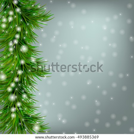 Christmas grey background with snowflakes and christmas tree #493885369