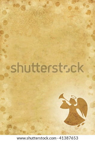 Christmas grunge background with angel