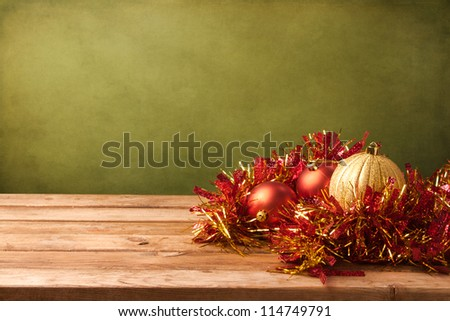 Christmas grunge background with wooden deck tabletop