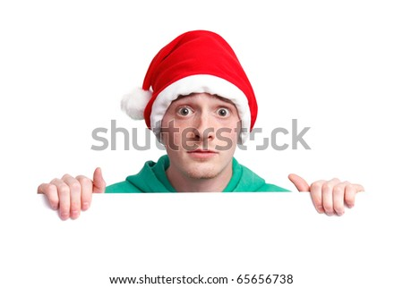 Christmas Guy with santa hat and sign