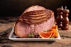 Christmas ham brown sugar glazed spiral cut