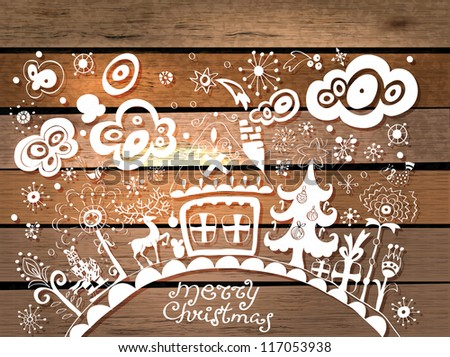 Christmas hand drawn background in origami style over wood - stock photo