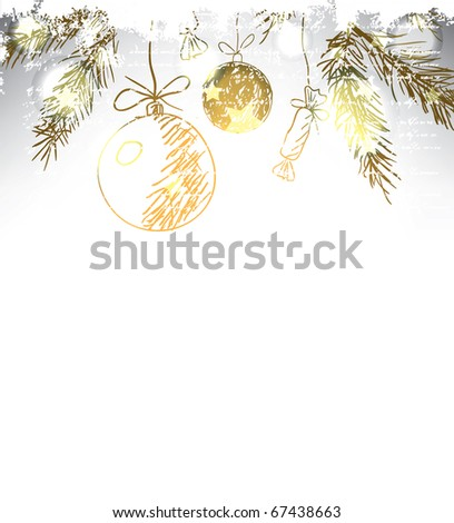 Christmas hand drawn background. Raster version