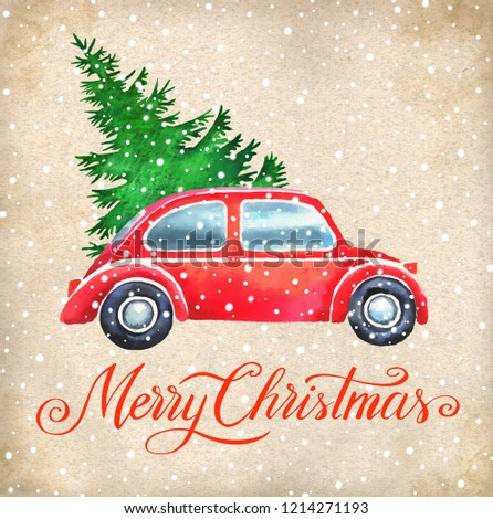Christmas hand paint watercolor illustration with  christmas tree, vintage car and snow. Background for christmas greeting card, invitation. #1214271193