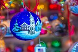 Christmas handmade ball. Nuremberg, Germany