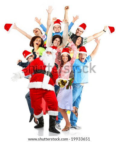 Christmas, happy funny people and Santa. Over white background