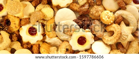 Christmas header with homemade Christmas cookies. Christmas festive  sweets and cookie background. Panoramic banner. Panoramic image