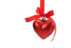 Christmas heart shaped decoration ball with red ribbon isolated on white background
