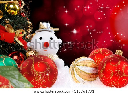 Christmas holiday background with a snow man