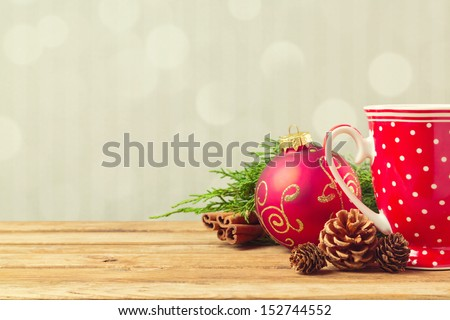 Christmas Holiday Background With Coffee Cup, Pine Corn And Ornaments