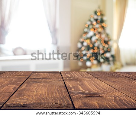 Christmas holiday background with empty rustic table